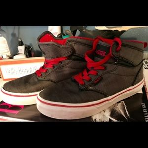 VANS  Gray/Red Sneakers Size 1  v. good cond